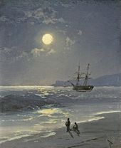 И.К. АЙВАЗОВСКИЙ. Парусник в спокойном море при лунном освещении. 1897