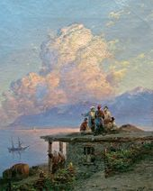 И.К. АЙВАЗОВСКИЙ. Вид на море от турецкого берега при заходе cолнца. 1898