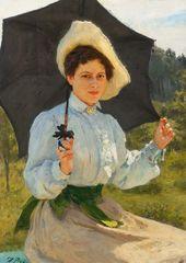 И.Е. РЕПИН. На солнце (Портрет Надежды Ильиничны Репиной, дочери художника). 1900
