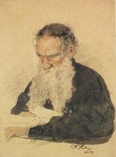 И.Е. РЕПИН. Л.Н. Толстой за работой в темной блузе. 1887