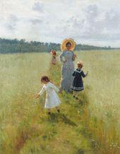 И.Е. РЕПИН. На меже (Вера Алексеевна Репина с детьми идет по меже). 1879