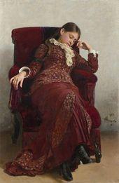 И.Е. РЕПИН. Отдых. Портрет В.А. Репиной, жены художника. 1882