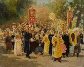 И.Е. РЕПИН. Крестный ход в дубовом лесу. Эскиз. 1878