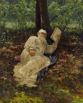 И.Е. РЕПИН. Л.Н. Толстой на отдыхе в лесу. 1891