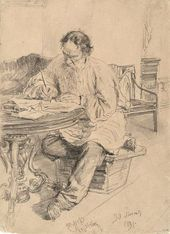 И.Е. РЕПИН. Л.Н.Толстой за работой. 1891