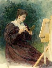 И.Е. РЕПИН. Портрет М.К. Тенишевой за мольбертом. 1896
